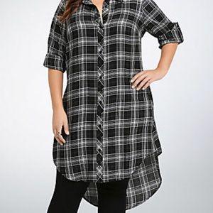 Torrid Sz 1 Plaid Button Front Shirt Dress